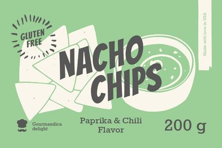 Nacho Chips ad in green Label Design Template