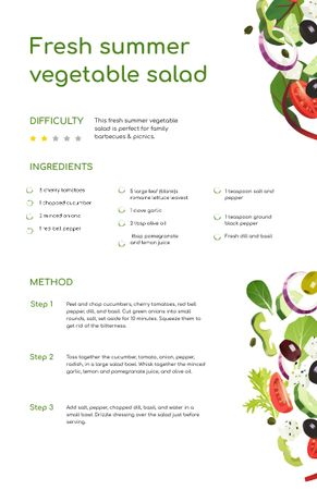Plantilla de diseño de Fresh Summer Veggie Salad Recipe Card