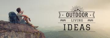 Outdoor Trip Inspiration Backpacker Sitting on Cliff | Tumblr Banner Template