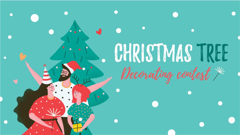 Christmas Tree Decoration Contest Happy People in Santa Hats — Maak een ontwerp