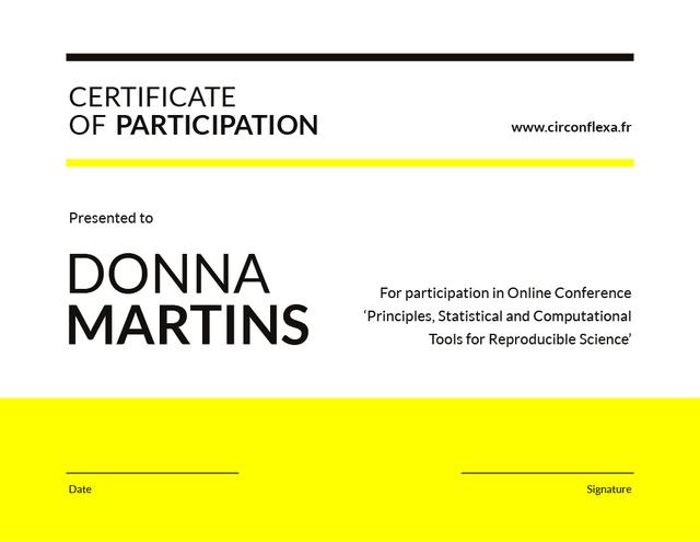 Modèle de visuel Science Conference Participation gratitude - Certificate