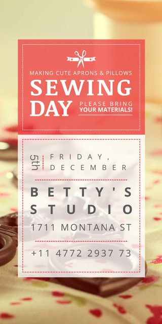 Sewing day event with needlework tools Graphic Design Template