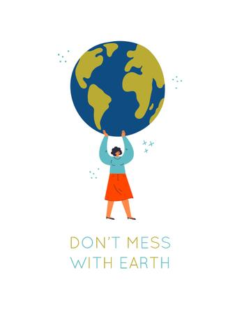 Plantilla de diseño de Woman holding Planet Earth T-Shirt