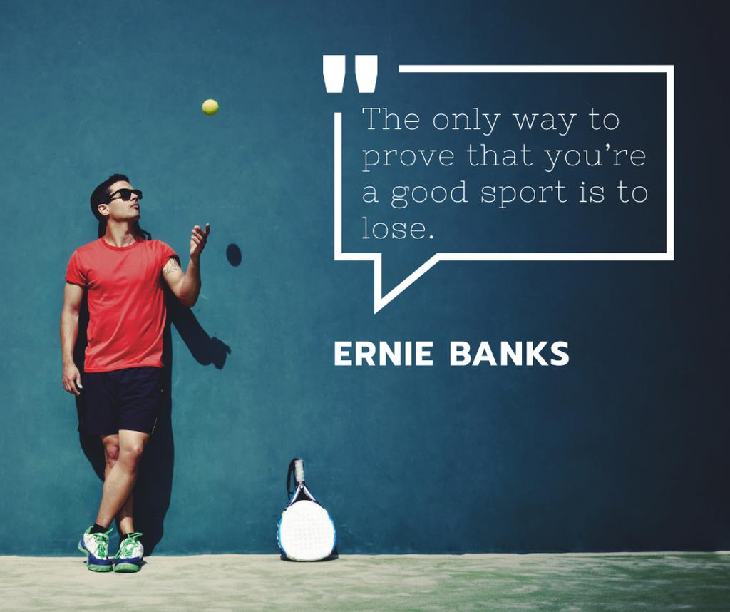 Sports quote with Tennis Player throwing Ball — Créer un visuel