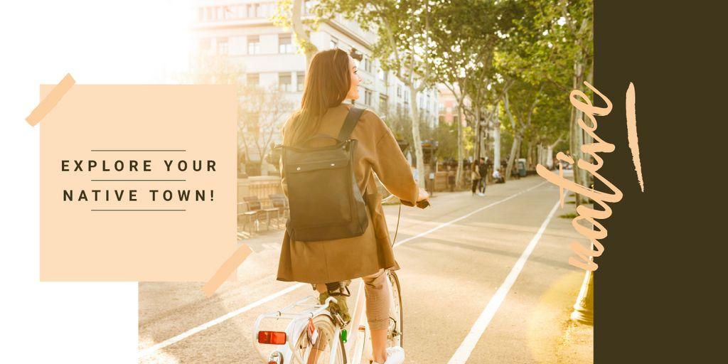 Riding bike in city Image – шаблон для дизайну