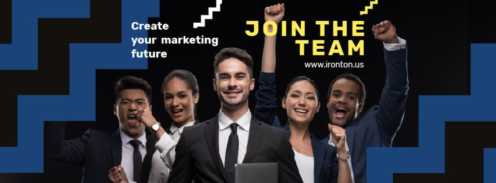 Job Offer Cheerful Business Team | Facebook Cover Template — Crea un design