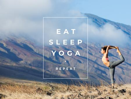 Template di design Woman doing Yoga in Mountains Presentation