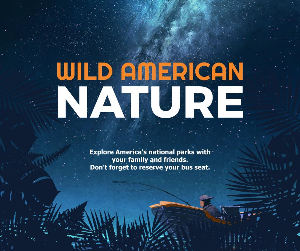 Wild american nature night Forest — Crear un diseño