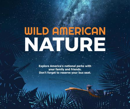 Plantilla de diseño de Wild american nature night Forest Facebook