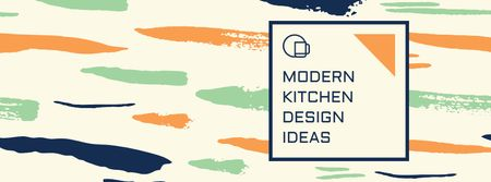 Kitchen Design Ad with Colorful Smudges Facebook cover Modelo de Design