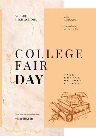 College Fair Announcement with Books with Graduation Hat Poster Modelo de Design