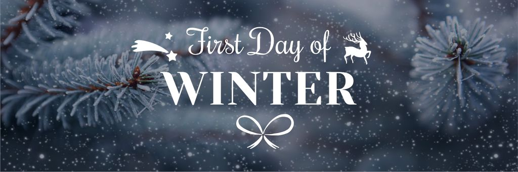 First day of winter lettering with frozen fir tree branch — Crear un diseño