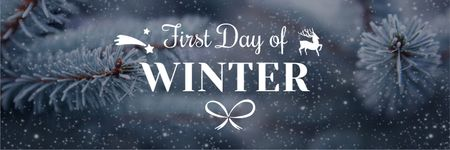 Plantilla de diseño de First day of winter lettering with frozen fir tree branch Twitter