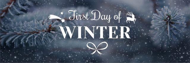 First day of winter lettering with frozen fir tree branch Twitter Tasarım Şablonu
