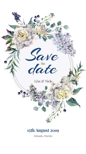 Save the Date in Flowers Wreath Instagram Story Design Template