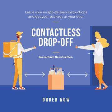 Delivery Services offer with courier and customer on Quarantine