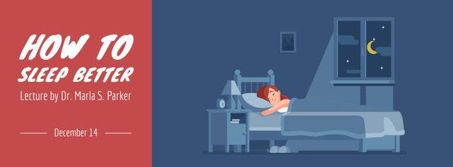 Girl sleeping day and night Facebook Video cover – шаблон для дизайна
