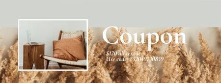 Plantilla de diseño de Textiles offer with Interior in natural colors Coupon