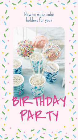 Birthday Party with Decorated cake pops Instagram Story – шаблон для дизайна