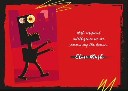 Scary robot walking in city and Quote Postcard Modelo de Design