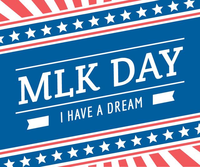 Plantilla de diseño de Martin Luther King Day Greeting with Flag Facebook