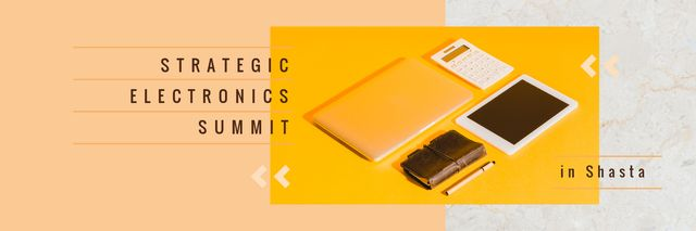 Electronics Summit Announcement Digital Devices and Notebook Twitter Modelo de Design