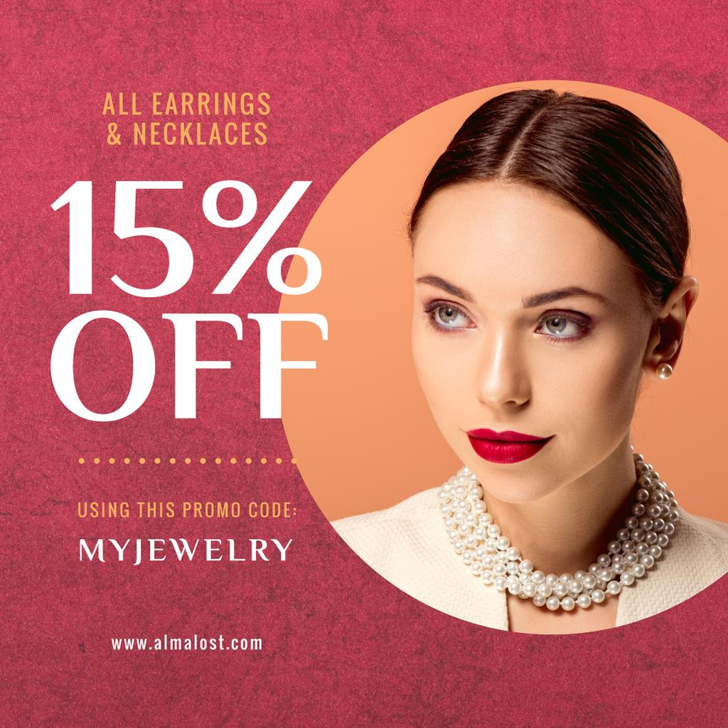 Jewelry Sale Announcement Woman in Pearl Necklace — Create a Design