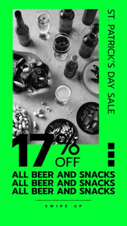 St. Patricks' Day Offer with Drinks on the table Instagram Story Design Template