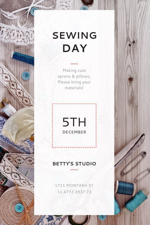 Template di design Sewing day event with needlework tools Tumblr