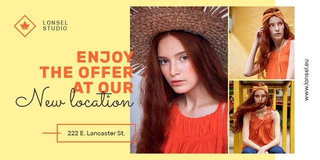 Ontwerpsjabloon van Twitter van Fashion Offer with Stylish Woman in Orange