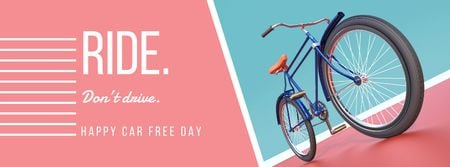Happy Car Free Day with bicycle Facebook coverデザインテンプレート