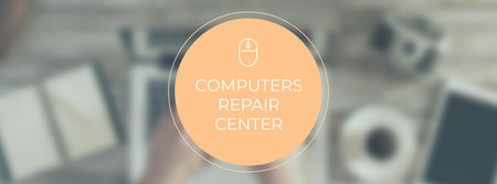 Designvorlage Computer Repair services with laptop at workplace für Facebook cover