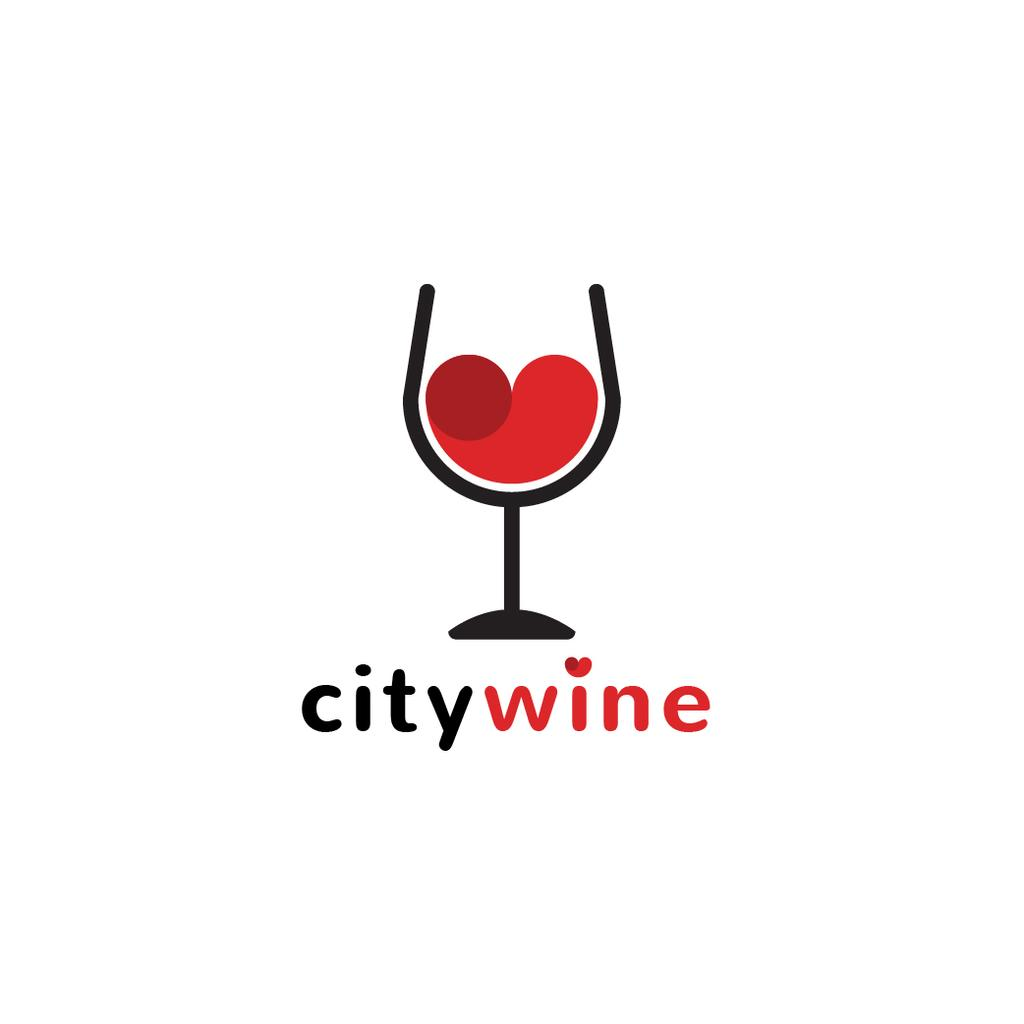 Wine Guide Red Heart in Glass | Logo Template — Crea un design