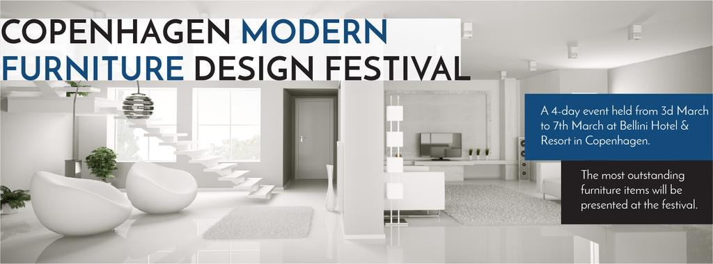 Furniture Design Festival Modern White Room | Facebook Cover Template — Créer un visuel