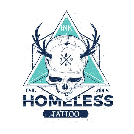 Ontwerpsjabloon van Instagram AD van Tattoo Studio Ad with Skull