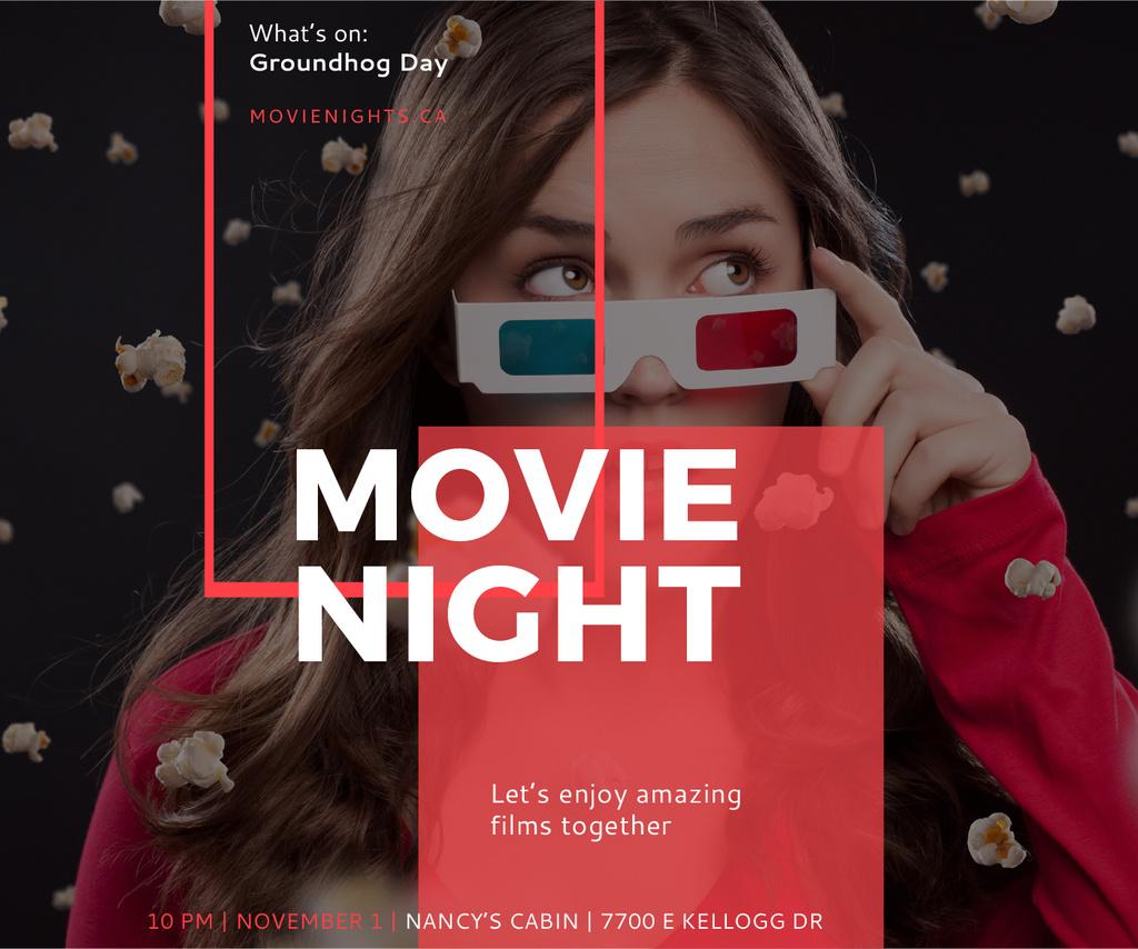 Movie Night Event Woman in 3d Glasses — Create a Design