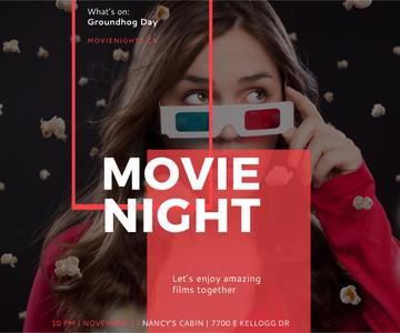 Movie Night Event Woman in 3d Glasses | Large Rectangle Template
