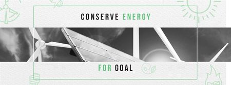 Green Energy Wind Turbines and Solar Panels Facebook coverデザインテンプレート