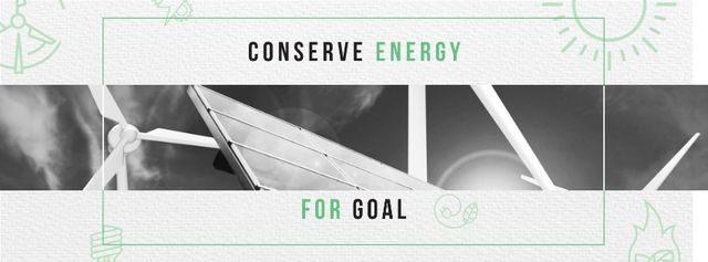 Modèle de visuel Green Energy Wind Turbines and Solar Panels - Facebook cover