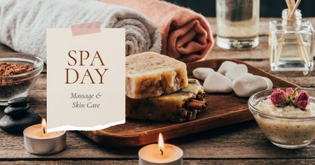 Spa Salon Offer Skincare Products and Soap Facebook AD – шаблон для дизайна