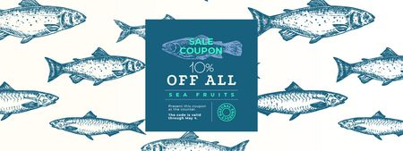 Sale Offer with Fish Pattern Coupon – шаблон для дизайну