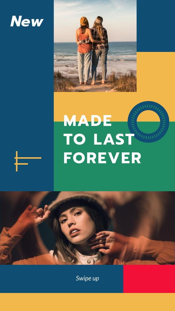 Fashion Collection ad with Young Women at coast Instagram Story Design Template
