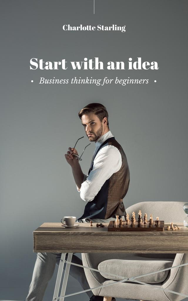 Confident Businessman by Chess Board Book Cover Tasarım Şablonu