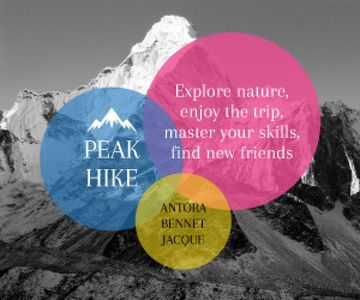 Hike Trip Announcement Scenic Mountains Peaks | Medium Rectangle Template