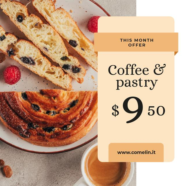 Cafe Promotion Coffee and Pastry on Table Animated Post Design Template