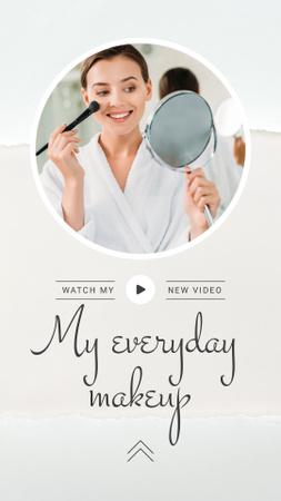 Beauty Blog Promotion Woman Applying Foundation Instagram Story Modelo de Design