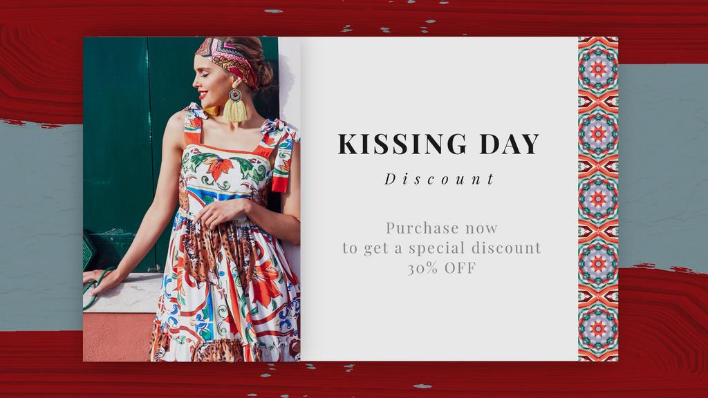 Kissing Day Sale Woman in Bright Dress | Full HD Video Template — Create a Design