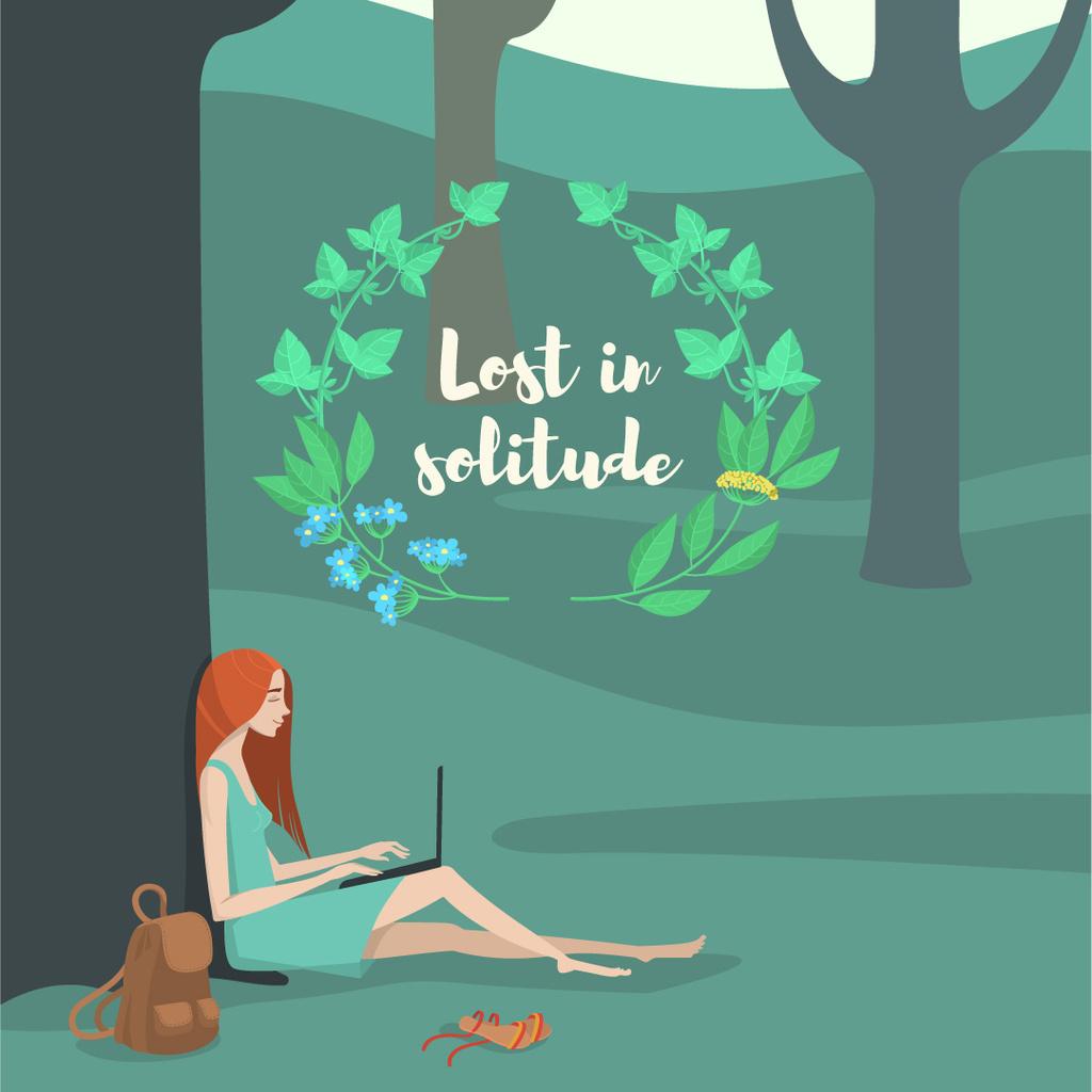 Solitude Inspiration with Girl Working on Laptop in Park — ein Design erstellen