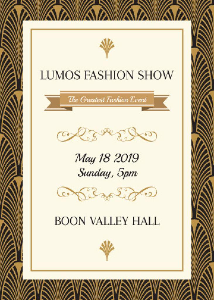 Fashion Show invitation Golden Art Deco pattern — Maak een ontwerp