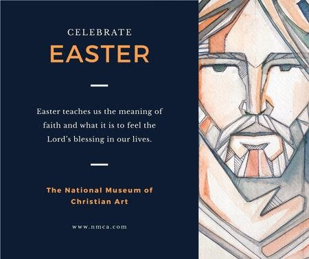 Ontwerpsjabloon van Facebook van Easter Day celebration in museum of Christian art